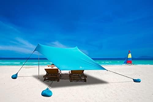 ALPHA CAMP Beach Shade Tent Portable Canopy Sun Shelter with Sandbag Anchors - Family Size 7.2x6.5FT Blue
