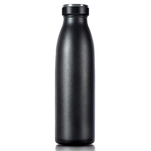 Love-KANKEI 水筒 マグボトル ステンレスボトル 真空断熱 保温 保冷 軽量 牛乳瓶 直飲み 750ML ブラック