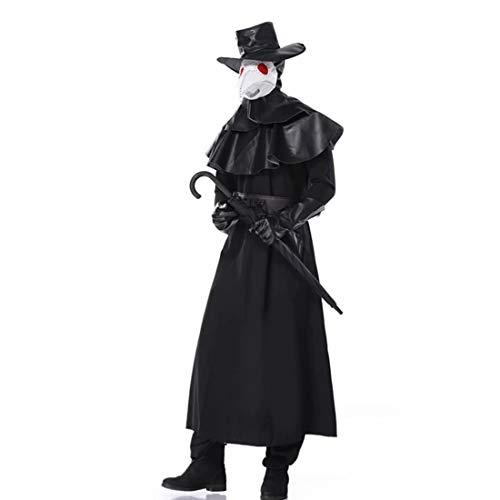 Hpparty Plague Doctor Outfits - Hoofddeksels + Kraai/Vogels Neusmasker + Hoed + Riem + Handschoenen + Kraag + Robe Set, Middeleeuwse Steampunk Retro Cosplay Kostuum Props