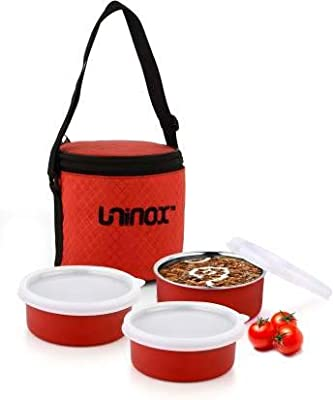 VAGMI 3 Container Micro- Round Stainless Steel Lunch Box(Multi)
