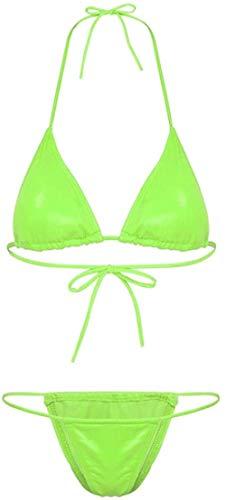 Conjuntos de lencería para Mujer 2 Piezas Sujetador Triangular Acolchado con Cuello Halter para Mujer Top + Briefs Conjuntos Ropa Interior Sexy para Mujer Traje de baño Traje de baño-Neon_Green_