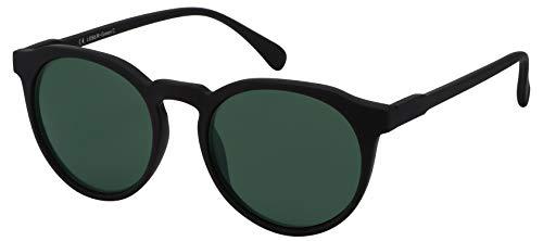 La Optica B.L.M. Sonnenbrille Herren Damen UV400 Rund Retro - Gummiert Schwarz (Gläser: Grün Klassisch)