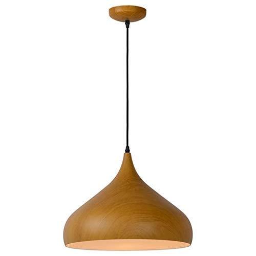 Moderne hanglamp van metaal in houtlook, donkere houtlook, hanglamp rond, in hoogte verstelbaar voor eetkamer woonkamer fitting 42 cm E27