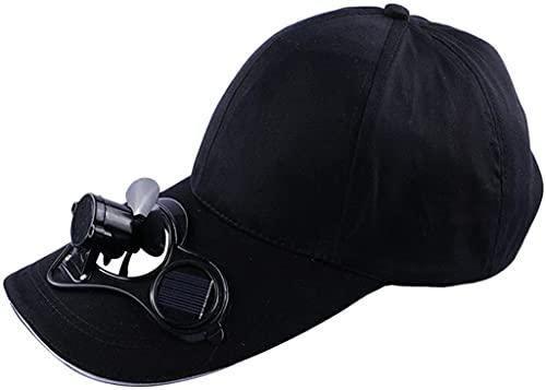 Gorra de béisbol con ventilador de energía solar, gorra de ventilador de panel solar ecológica, gorra de béisbol para el viento y sombrilla, sombrero de sol creativo portátil (Black)