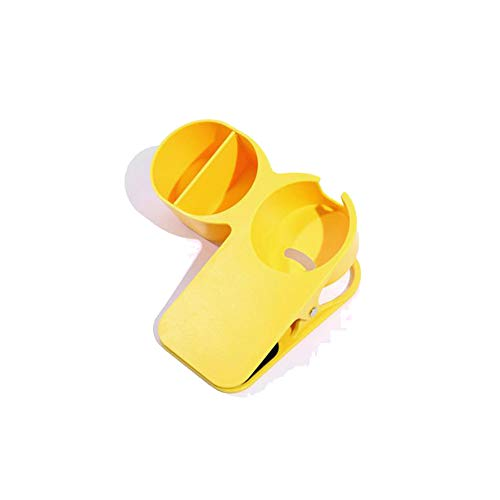 クリップ テーブル カップホルダー プラス マグカップ対応 小物入れ付き ドリンクホルダー 備品 ボトルケージ (イエロー)