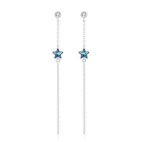 Pendientes largos para niñas Joyería para mujeres con cristales de Swarovski, regalos de cumpleaños especiales para ella ❤ Estrella ❤ Mariposa ❤ Perla
