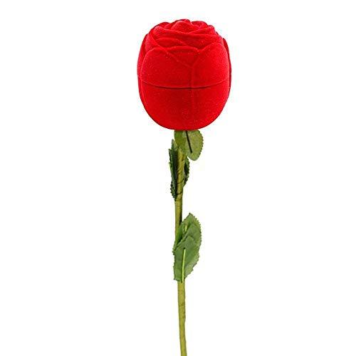 Sjzwt 1pc romántico Caja del Anillo Flor de Rose se reúne la Titular de Bodas Terciopelo Proponer la Caja de la joyería de Embalaje de Compromiso de San Valentín Día de la Caja de Regalo