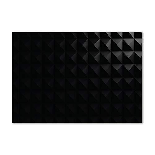 Tulup - Cuadro de cristal para pared (vidrio templado, pared detrás de vidrio de seguridad templado, pared decorativa para cocina y salón 100 x 70 cm, arte moderno y clásico, abstracto, color negro