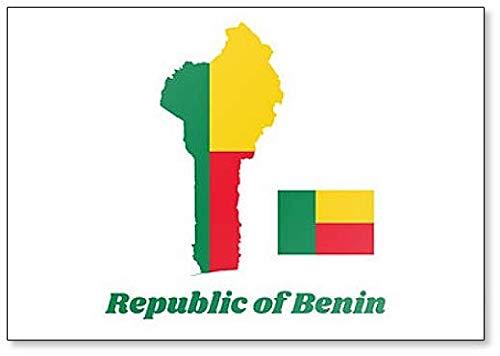 Kühlschrankmagnet, Motiv Karte & Flagge von Benin