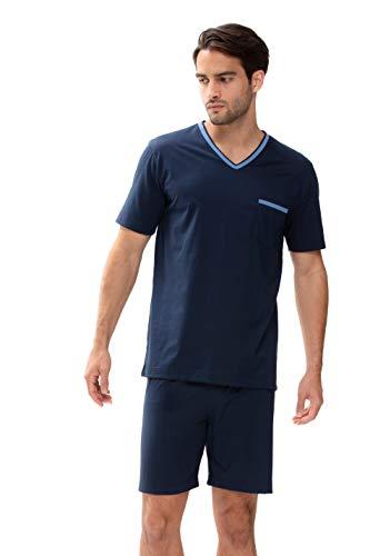 Mey Night Uni Basic Herren Schlafanzüge kurz Blau XXL