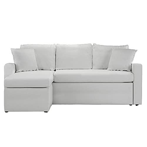 BHDesign Sasha – Sofá de esquina convertible reversible de 4 plazas, piel sintética, color blanco