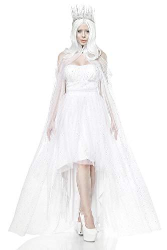 Unbekannt Damen langes Fantasy Kostüm Weiße-königin Verkleidung aus Kleid, Umhang, Rückenfrei und Mehrschichtig in weiß EIS Krone Kostüm L-XL