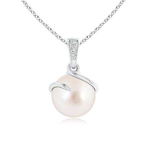 Colgante en espiral de perlas cultivadas en el Mar del Sur con diamantes (9 mm de perla cultivada en el Mar del Sur)
