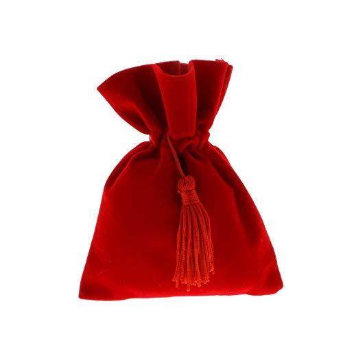12 PZ Sacchetto portaconfetti LAUREA 10x13 cm velluto rosso con nappina