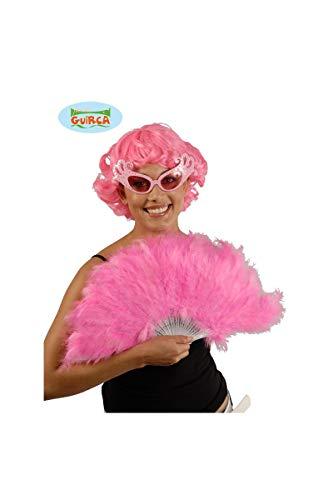 Ventaglio rosa in piume con montatura in plastica