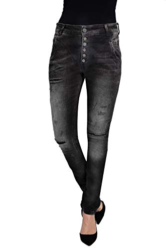 Zhrill Damen Boyfriend Jeans Tapered 5 Pocket Slim Fit Amy, Größe:W26 / L32, Farbe:W9071 - Black