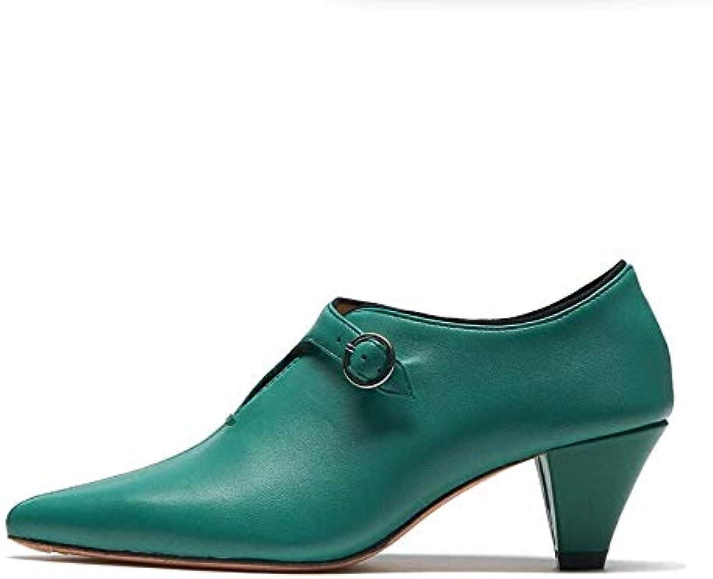 HOESCZS Damenschuhe Schuhe Herbst Einzelne Schuhe Schuhe Leder Spitzen High Heels Damen Dick Mit Mode Wilde Frauen Schuhe  online