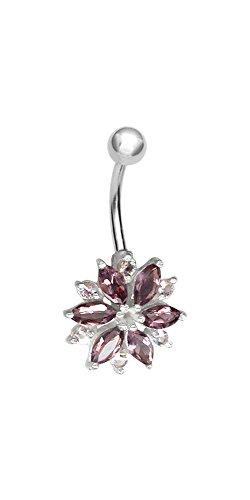 Karisma zilveren navelpiercing bloem met zirkonia stenen SBF.41 amethist en licht roze