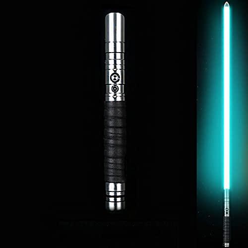 JAKROO Sabadora Luz, Mango Metal RGB Cuchilla Cambio Color, Telescópico Extendible Colapsable Espada Láser 2-en-1 Led + Sonido FX, Luchas Espada Djustable 12 Colores Diferentes