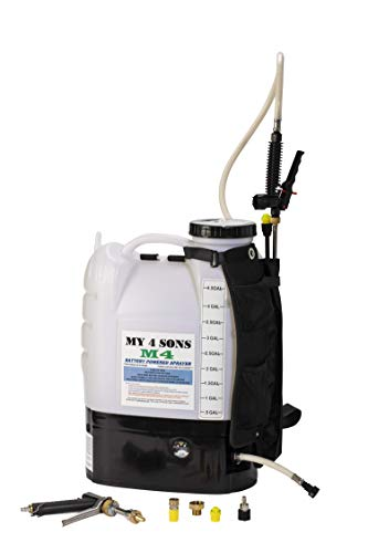 M4 MY4SONS Battery Powered 4-Gallon Backpack Sprayer with Heavy Duty Straps Sprays up to 30 feet Includes Professional Spray Pistol