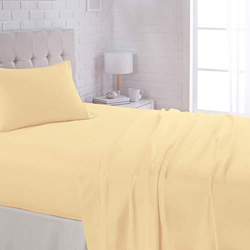 AmazonBasics Lightweight Super Soft Easy Care Microfiber Bed Sheet Set with 16' Deep Pockets - Twin XL, Mustard Yellow