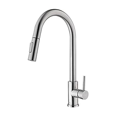 Tohlar Kitchen Sink Faucets with Pull-Down Sprayer, Modern Stainless Steel Single Handle Pull Down Sprayer Faucet (Brushed Nickel)