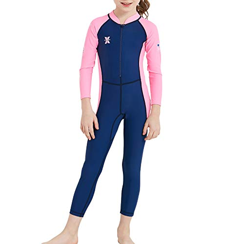 DIVE & SAIL Kids Rash Guard Wetsuit,Youth Girls and Boys Swimsuit One Piece Water Sports Sunsuit Swimwear Sets (Navy-Pink/Girl's Swimsuit, 6-8 Years/X-Large)