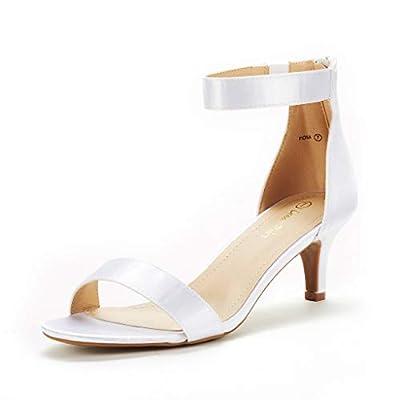 DREAM PAIRS Women's Fiona White Satin Fashion Stilettos Open Toe Pump Heeled Sandals Size 8 B(M) US