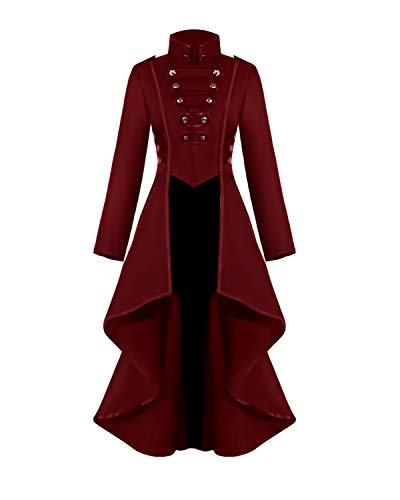 Rattlebush Gothic Tailcoat Halloween Costumes for Women, Medieval Irregular Hem Steampunk Corset Victorian Tailcoat Jacket 3XL Rose Red