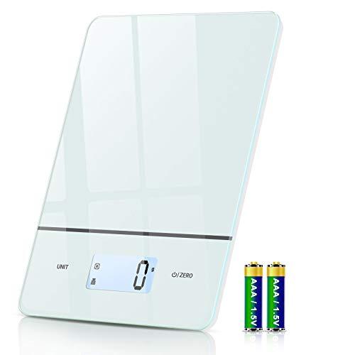 Cocoda Balance Cuisine, 6 Unités Balance Alimentaire Électronique avec 1g/0.1oz Précision, Fonction de Tare, Rétroéclairé Écran LCD, Plateforme en Verre Trempé, 5kg Balance Numérique, Piles Incluses