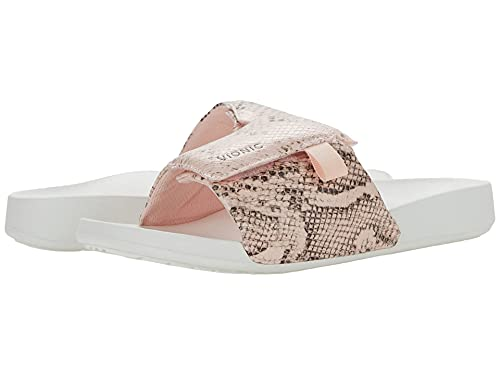 Vionic Women's Asha Keira Slide Sandal- Ladies Sporty Comfortable Sandals with Adjustable Strap that include Three-Zone Comfort with Orthotic Insole Arch Support Pale Blush 9 Medium US