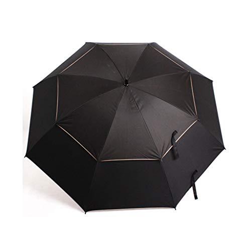 LLF Regenschirm Automatischer Offener Golfschirm, 51-Zoll-Übergrößen-Doppel-Überdachung Winddicht wasserdichte Große Stock-Regenschirme, Sonnenschutz Für Männer Frauen (Color : Black, Size : 102cm)