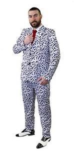 I LOVE FANCY DRESS LTD Unisex Dalmatiner Aufdruck Hosenanzug Cruel-DE-VILL BÖSE Hunde Frau ODER ZUHÄLTER KOSTÜM VERKLEIDUNG MIT Einer ROTEN Krawatte = Halloween Fasching Karneval=XLarge