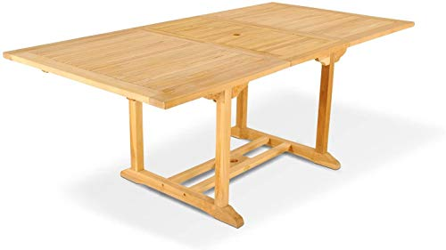 SAM Gartentisch Kuba, Teakholz massiv, 180-240 x 100 cm, ausziehbarer Holztisch für Balkon & Garten, mit Schirmloch