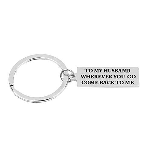 ANAZOZ zilveren rechthoekige plaat sleutelhanger ring aan mijn man/vrouw waar je ook heen komt terug naar mij sleutelhanger cadeau voor paar