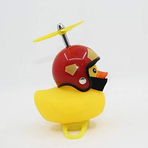 CandyTT Caricatura Little Yellow Duck Bike Bells Adecuado para Bicicleta Plegable MTB Bocina de Bicicleta Sonido Fuerte Accesorios de Bicicleta Anillo de Campana (Amarillo Casco de Iron Man)