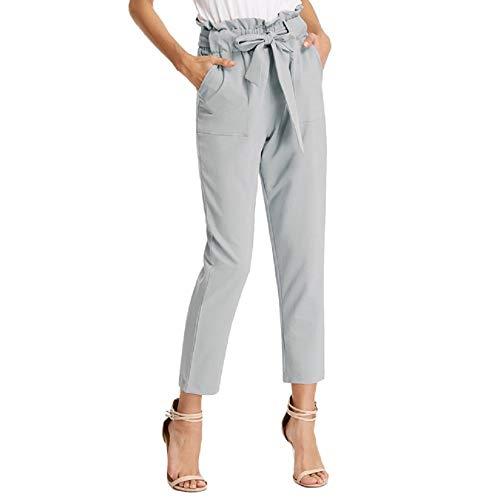 Pantalones Anchos de Verano para Mujer con Cinturón Ajustado Elástico Moda Casual Gris S Claf1011-6