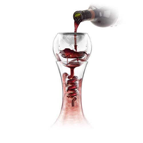 Final touch, WDA918 Aeratore per vino, compatibile con la maggior parte dei decanter, con filtro per sedimenti in acciaio inox, aeratore e supporto