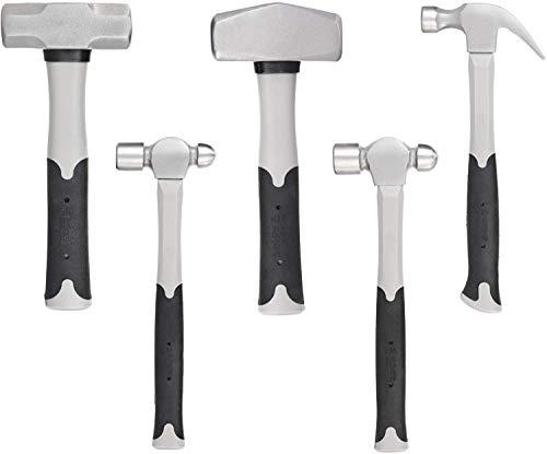 5-Piece Hammer Set With Fiberglass Handle(16 oz Ball Pein Hammer, 24oz Ball Pein Hammer,2.5 lb Sledge Hammer,3 lb Cross Pein Hammer,16 oz Claw Hammer)
