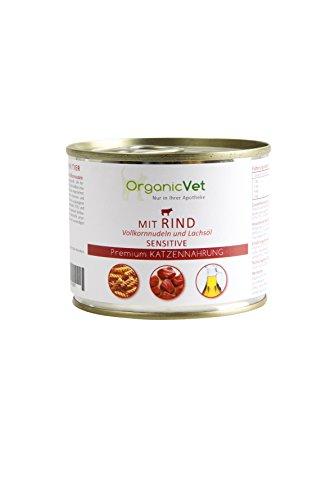 OrganicVet Sensitive kat voor natte voering, rundleer met volkorrelnoedels, 6-pack (6 x 200 g)