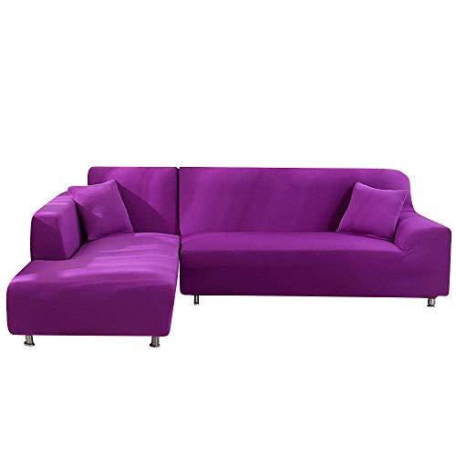 ZBBN Sofabezüge L-förmiges Sofa Wohnzimmer Schnitt Chaiselongue Sofa Schonbezug Spandex Stretchbezüge für Ecksofa-Candy Purple_2Seater
