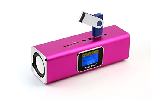Technaxx Musicman MA - Altavoz portátil (Jack 3.5 mm, USB, MicroSD, 2 x 3 W RMS, pantalla LCD, UKW, 150 Hz - 18 kHz), color rosa