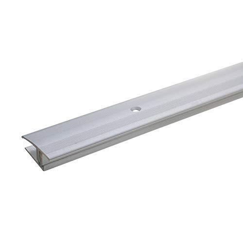acerto 35968 Übergangsprofil Aluminium, 3-teilig - 90cm, 12-22mm silber * Rutschhemmend * Kratzfest | Übergangsleiste für Teppich-Boden, Laminat & Parkett | Höhenausgleich bis 5 mm möglich