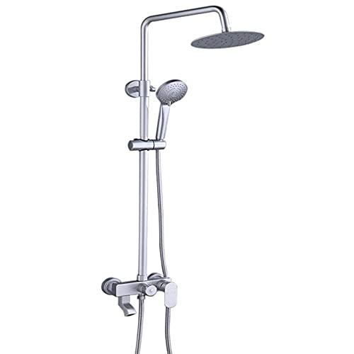 GJJSZ Space Aluminio Baño Mezclador Sistema de Grifo de Ducha Cabezal de Ducha de ABS Caliente y frío Juego de Mezclador de Ducha de baño Anti-Piedra caliza Sistema de Ducha con Grifo Giratorio-C