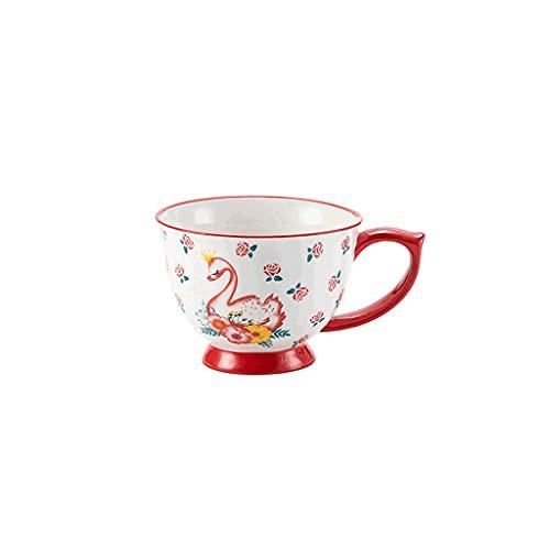 ZANZAN Taza de Desayuno Grande 450 ml, Taza de café de cerámica microondas, Taza Linda Pintada a Mano, Taza de Bebidas Reutilizables para Bebidas frías/Caliente-4 Colores (Color : Red Swan)