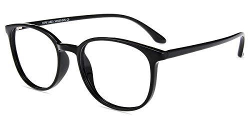 Firmoo Gafas Luz Azul para Mujer Hombre, Gafas Filtro Antifatiga Anti luz Azul y contra UV-400 Ordenador de Gafas Montura TR90 para Protección los Ojos, L1025 Negro