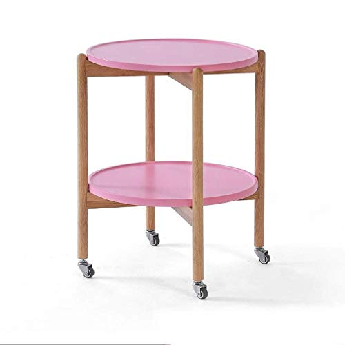 Mobili Moderni Tavolino Tavolino Tavolino Nordico con Ruote Tavolino in Legno massello Divano Rotondo Tavolino angolare Comodino Rimovibile, 4654 cm Tavolino Laterale Comodino