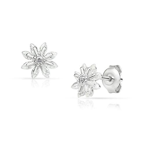 SolidSilver - Sterling Silver Flower Stud Earrings with Dainty Crystal Clear CZ