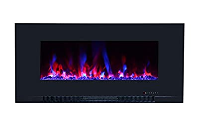 "Touchstone ValueLine 50"" 10-Color, in-Wall Recessed, Electric Fireplace, 50 Inch Wide, Logset & Crystal, 1200W Heat (Black)"
