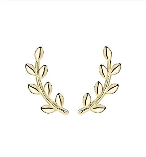 XAOQW Roxi Hoja Bohemios Pendientes de Boda Joyería Moda Simple Rastrero 925 Pendientes de Plata esterlina Pendientes Pendientes-Oro Dorado